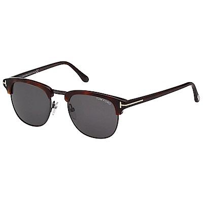 TOM FORD 經典款 太陽眼鏡-琥珀+槍色-TOM248