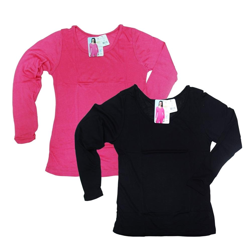 吸濕發熱女衛生衣-黑色/桃紅色-1947-2件組 混色銷售隨機出貨