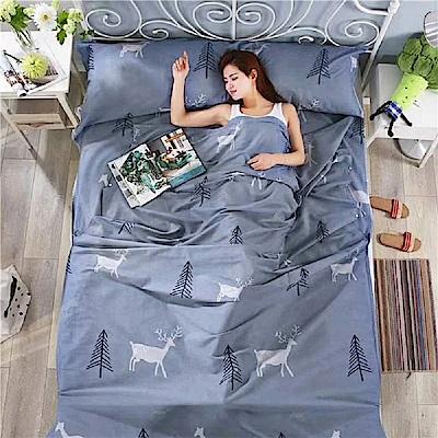 DaoDi 頂級100%純棉旅行保潔墊睡袋二入 雙人加大款