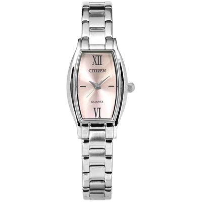 CITIZEN 星辰表 羅馬時標礦石強化玻璃酒桶型不鏽鋼手錶-銀粉色/19mm