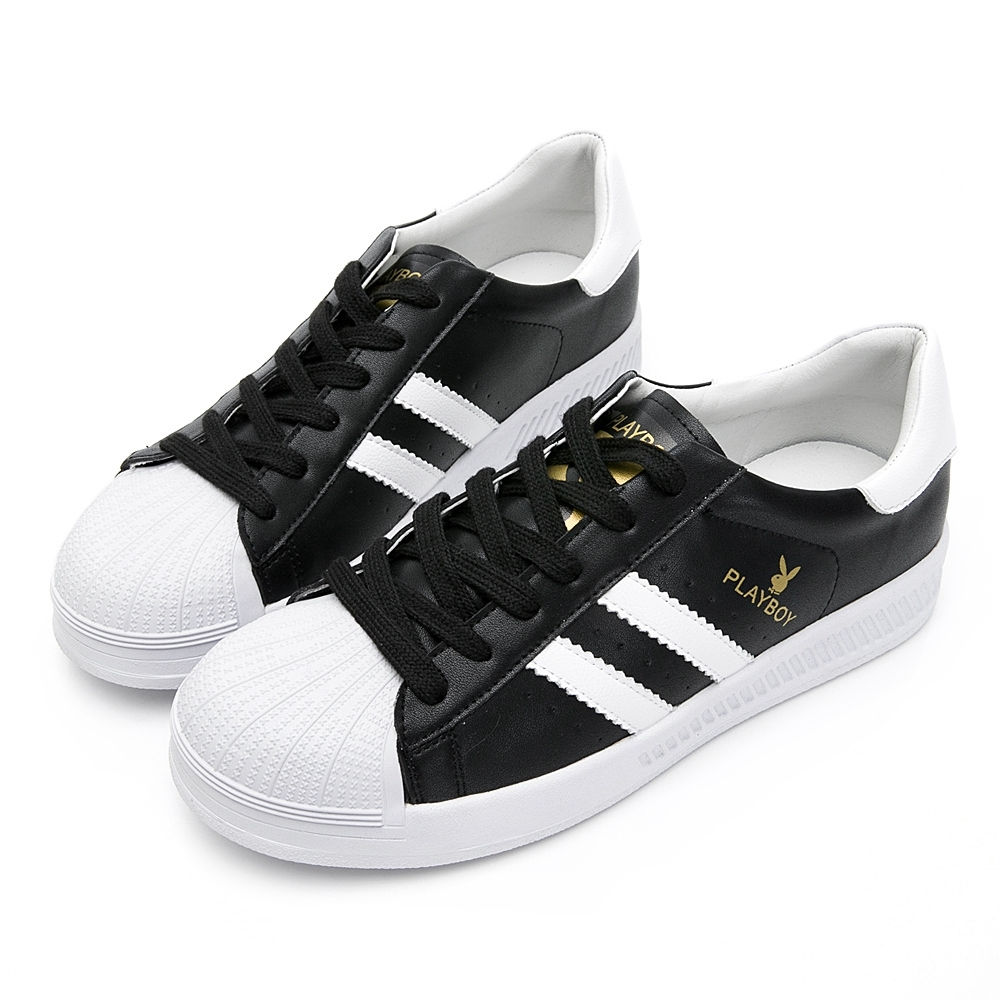 PLAYBOY 經典升級條紋仿皮休閒鞋-黑-Y6318CC