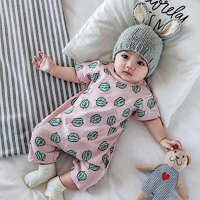 Baby unicorn 粉底西瓜短袖連身衣
