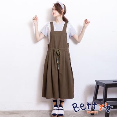 betty's貝蒂思 學院風寬鬆吊帶連身褲裙(深綠)