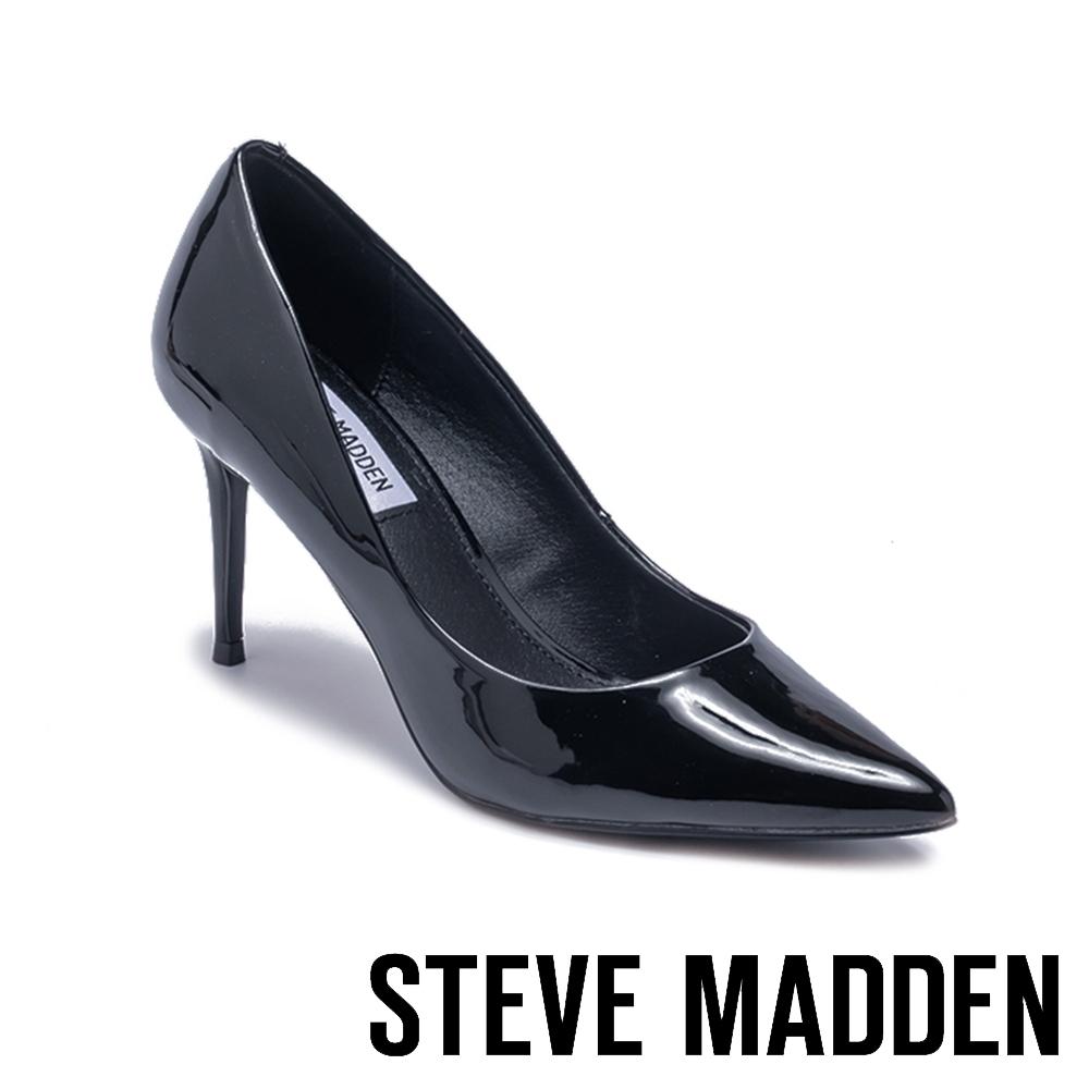 STEVE MADDEN-LILLIE 品牌經典素面尖頭高跟鞋-鏡面黑