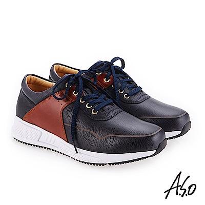 A.S.O 輕量抗震 牛皮拼接奈米戶外健走鞋 深藍