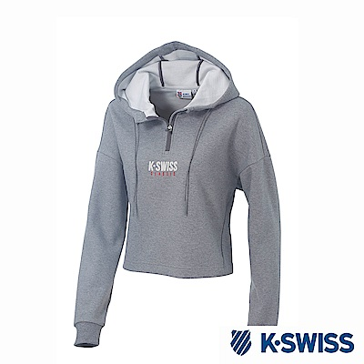 K-SWISS Hooded Sweat Half Zip up休閒連帽上衣-女-灰