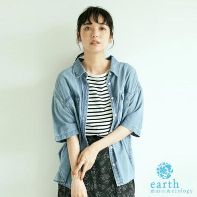 earth music 單寧牛仔短袖落肩襯衫