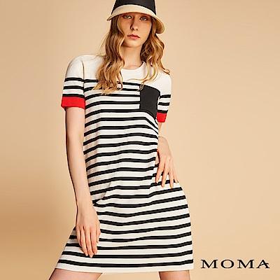 MOMA 袖口撞色條紋針織洋裝