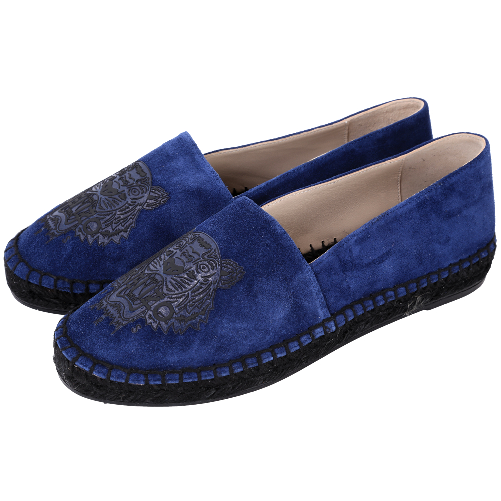 KENZO Tiger 老虎印花麂絨布草編便鞋(藍色)