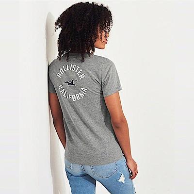 海鷗 Hollister 經典海鷗印刷標誌文字短袖T恤(女)-灰色