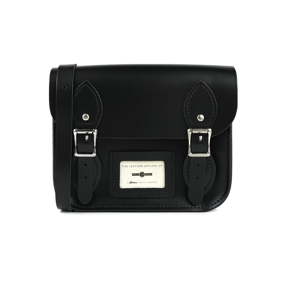 The Leather Satchel 英國手工牛皮劍橋包 肩背包 火炭黑 8.5吋