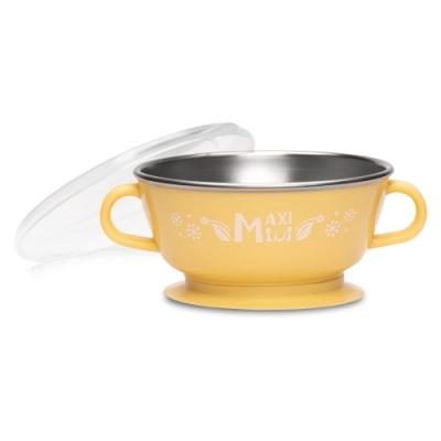 美國 【MaxiMini】 嬰幼兒抗菌不鏽鋼湯碗(奶油黃)