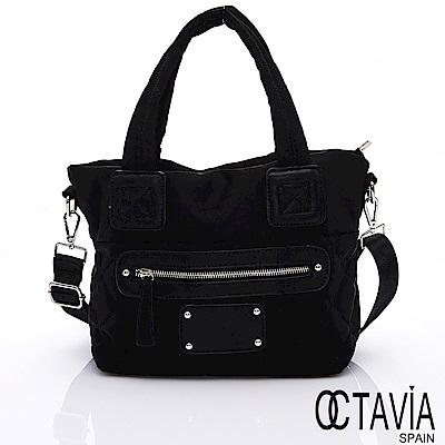 OCTAVIA 8 - 小韓風 格紋鋪棉空氣小托特包 -時尚黑