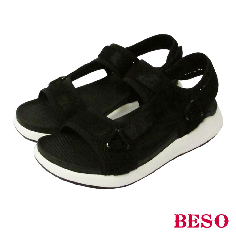 BESO 時尚酷感 異材質運動休閒運動涼鞋~黑