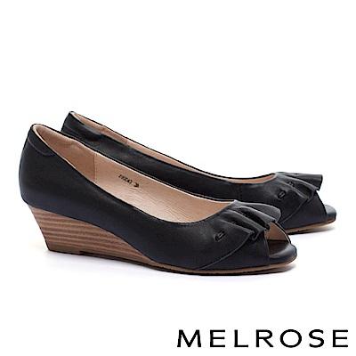 高跟鞋 MELROSE 柔美浪漫抓皺造型羊皮魚口楔型高跟鞋-黑