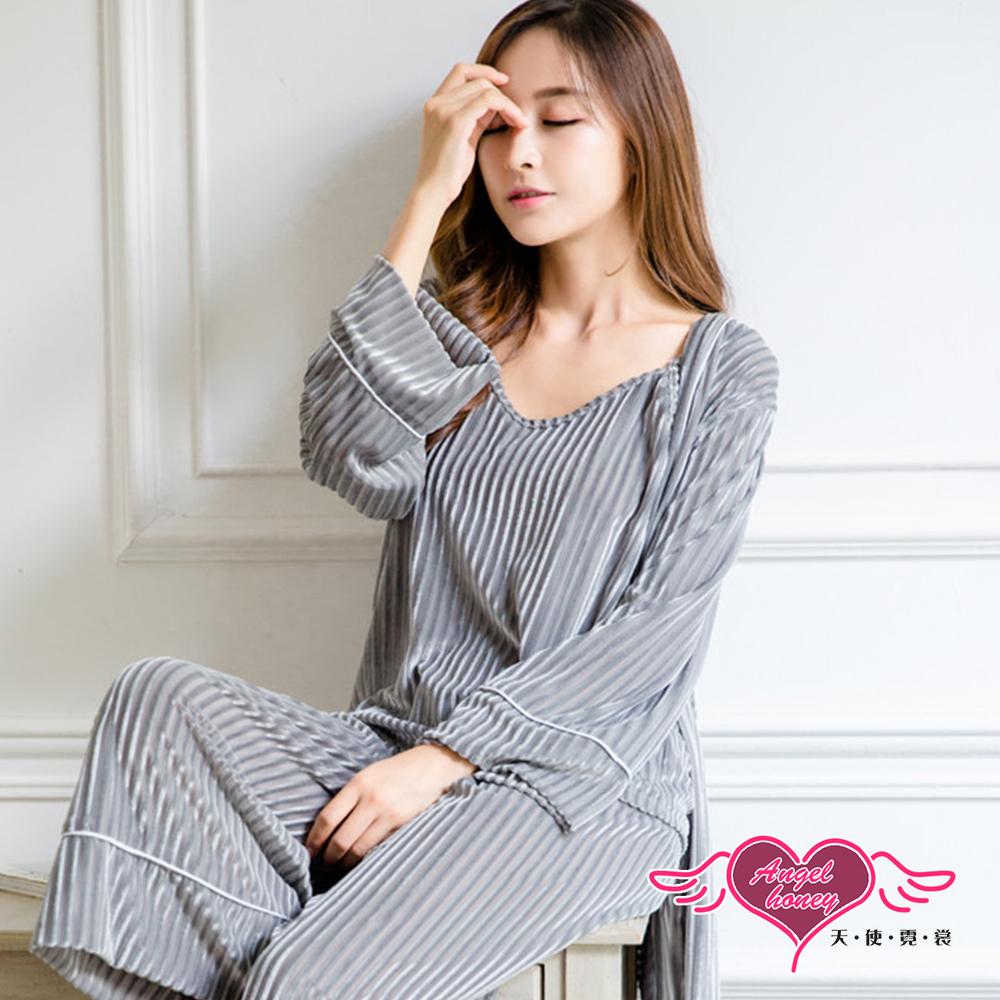 居家睡衣 自在無拘 三件式罩衫休閒睡衣組(灰F) AngelHoney天使霓裳