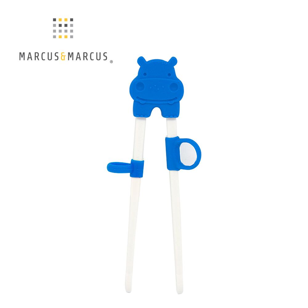 【MARCUS&MARCUS】動物樂園幼兒學習筷-河馬(藍)