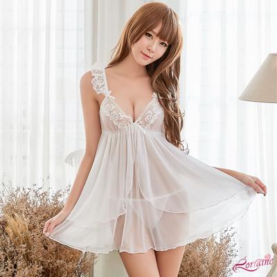 性感睡衣 甜美純白柔透視紗二件式性感睡衣(白F) Lorraine