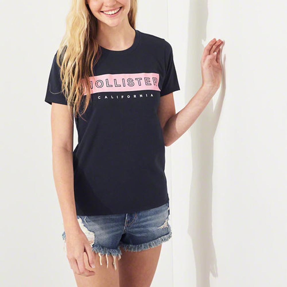 海鷗 Hollister 經典海歐印刷短袖T恤(女)-深藍色