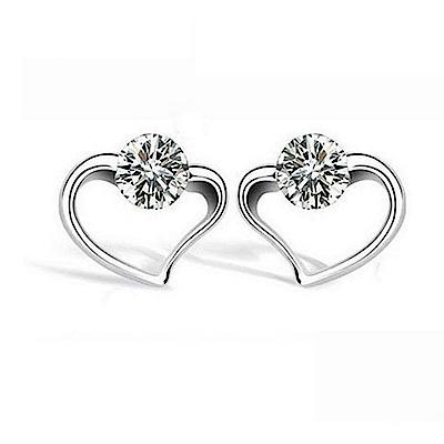 米蘭精品 925純銀耳環-愛慕之心鑲鑽耳環