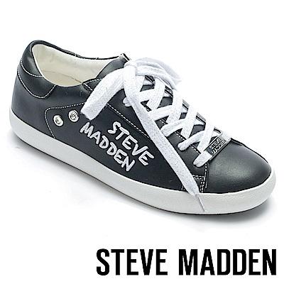 STEVE MADDEN-HAVEN-SM經典LOGO綁帶平底鞋-黑色