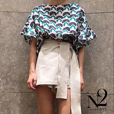 下著 正韓棉麻材質側邊綁帶褲裙(圖片色)N2