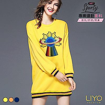 上衣-LIYO理優-MIT歐洲休閒彈力寬鬆刺繡長版T恤