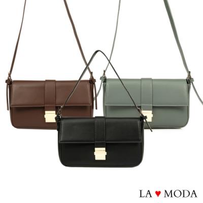 La Moda 優雅時尚Look輕巧便攜多背法方釦肩背斜背郵差包