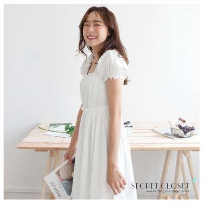 Secret Closet-法式方領公主袖連身洋裝