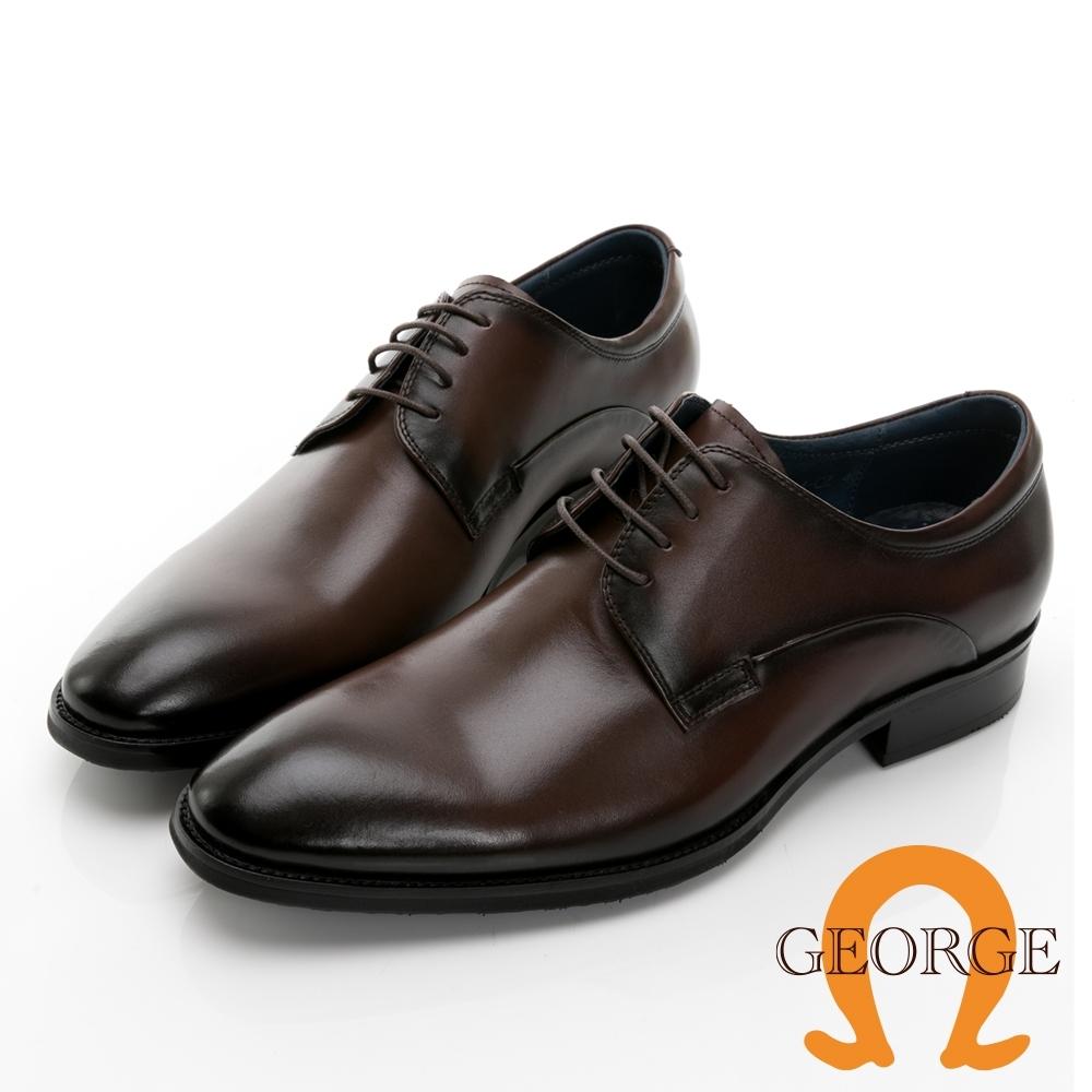 GEORGE 喬治皮鞋經典系列 真皮圓頭素面木紋紳士鞋 -咖啡 115014CZ