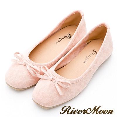 River&Moon女伶風采.細絨小方頭平底芭蕾娃娃鞋-淡粉