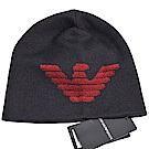 EMPORIO ARMANI 品牌大老鷹LOGO圖騰混羊毛造型帽(小號/深夜藍)
