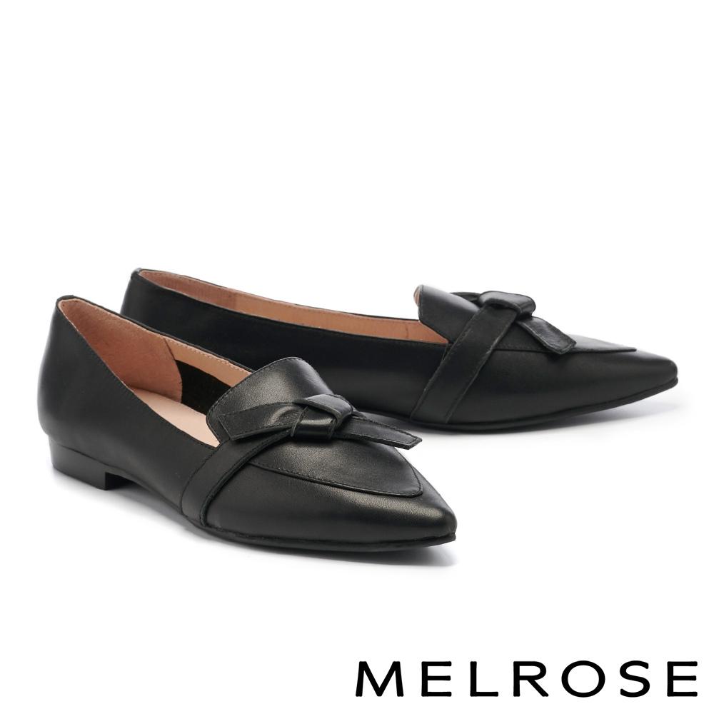 低跟鞋 MELROSE 極簡時尚綁結全真皮尖頭樂福低跟鞋-黑