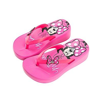 迪士尼童鞋 米妮 厚底夾腳拖鞋-桃