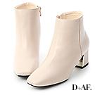 D+AF 完美主流.素面方頭金屬跟短靴*米白