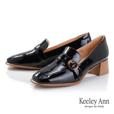 Keeley Ann極簡魅力 復古風漆皮樂福鞋(黑色-Ann系列)