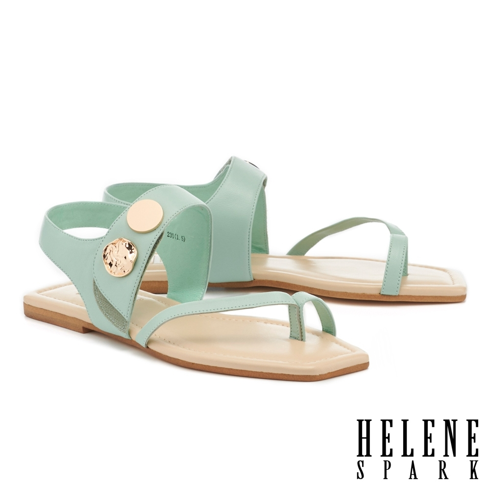 涼鞋 HELENE SPARK 時尚質感金屬釦寬帶平底涼鞋-綠