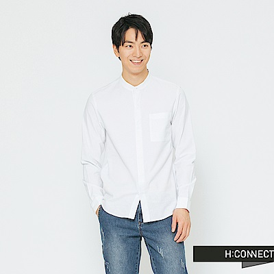 H:CONNECT 韓國品牌 男裝-簡約開扣中山領襯衫-白
