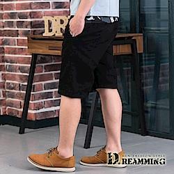 Dreamming 修身迷彩點綴伸縮休閒短褲-黑色