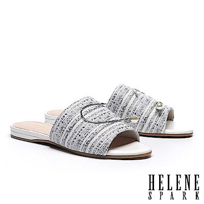 拖鞋 HELENE SPARK 復古時髦水滴珍珠晶鑽條紋布拖鞋-灰