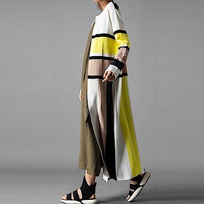 色塊條紋冰絲薄織罩衫外套-(共二色)Andstyle