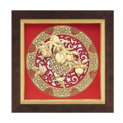 My Gifts 立體金箔畫-桃李滿門(圓形窗花系列20.5x20.5cm)
