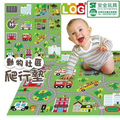 【買1送1】【LOG樂格】環保幼兒遊戲爬行墊2cm - 動物社區雙面街道 120X180cm