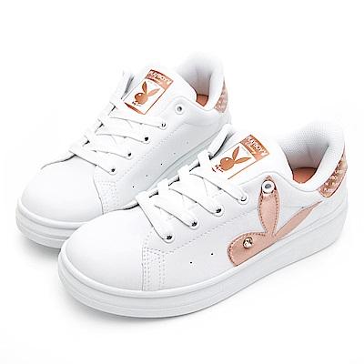 PLAYBOY 後跟品牌logo厚底休閒鞋-白金-Y571815