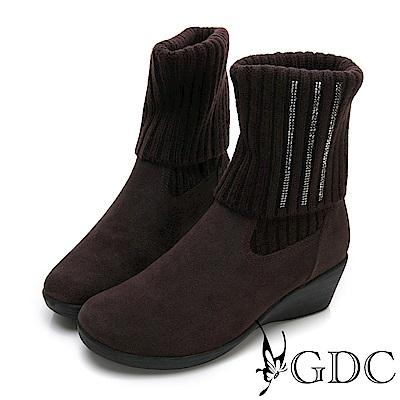 GDC-真皮基本素面側鑲鑽楔型襪靴-咖色
