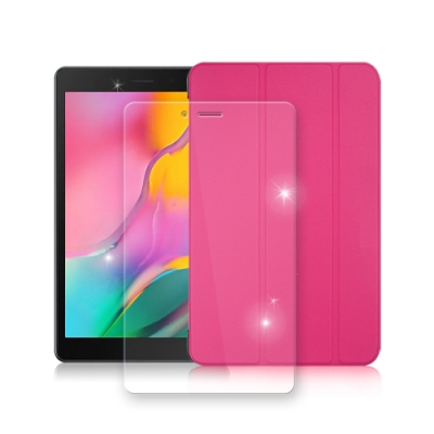 三星 Tab A 8.0 2019 LTE經典皮套(微甜桃)+9H玻璃貼(合購價)T295 T290