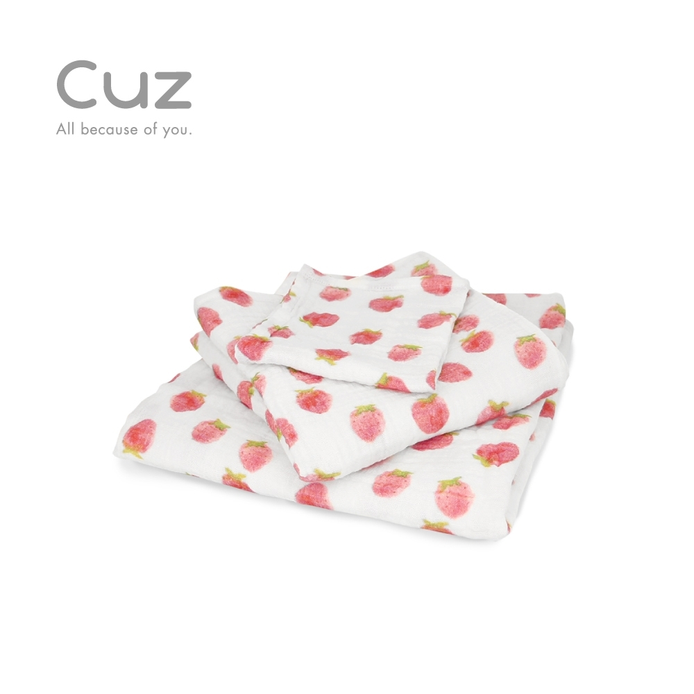 Cuz 草莓印章(紗布巾)30cm(2入)