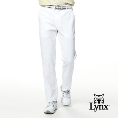 【Lynx Golf】男款吸濕排汗滿版俏皮印花平口休閒長褲-白色