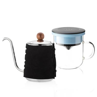 【PO:Selected】丹麥DIY手沖咖啡二件組 (手沖咖啡壺-黑/咖啡玻璃杯350ml-黑藍)
