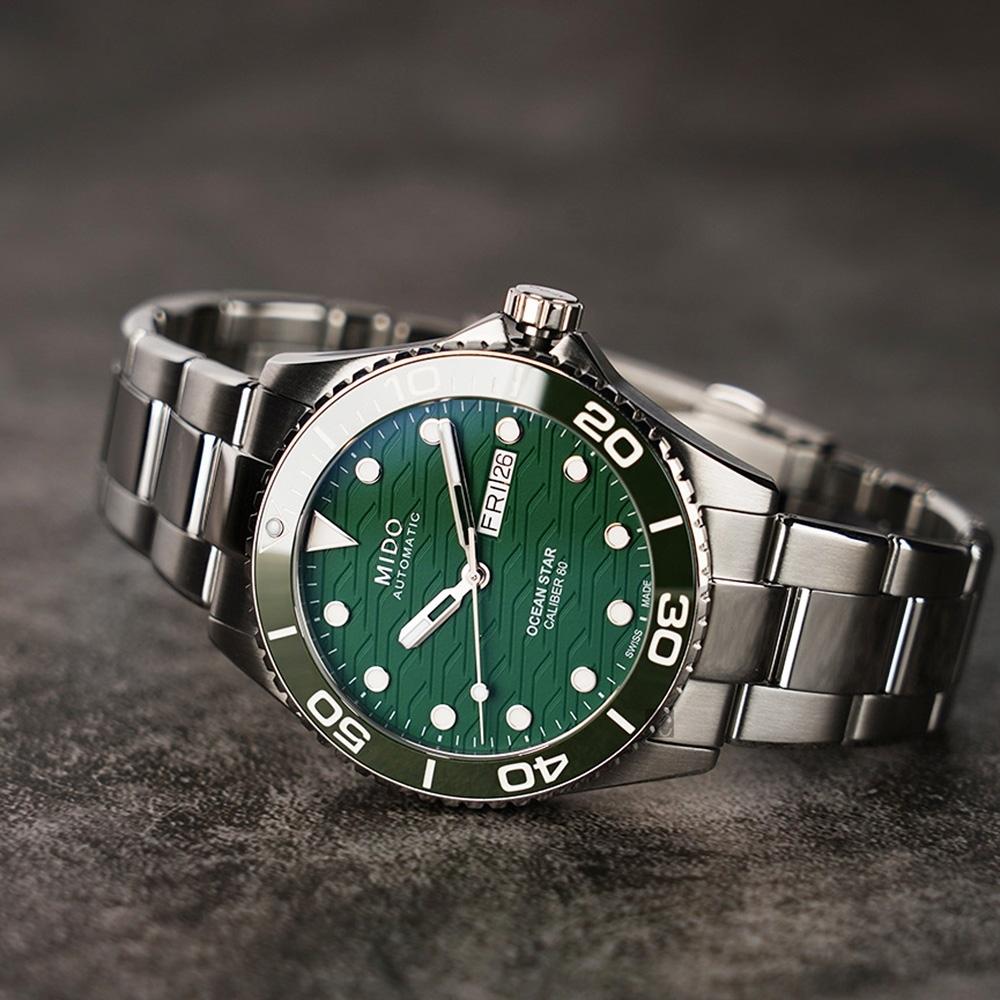MIDO 美度 Ocean Star 200C 廣告款 海洋之星陶瓷潛水錶-綠/42.5mm M04